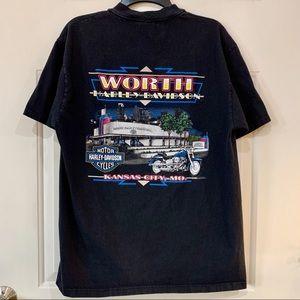 Vintage Black Harley T Shirt Kansas City Unisex L